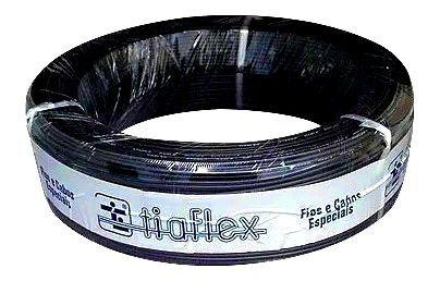 Fio Estereo Tiaflex Philips Borracha 2x020mm 100 Metros Preto