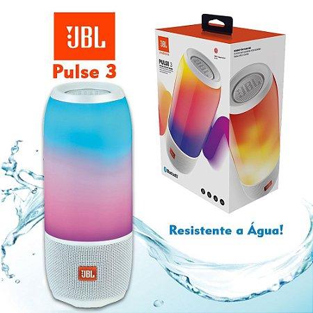 Caixa de Som Portátil JBL Pulse 3 Branca USB Bluetooth a prova de água