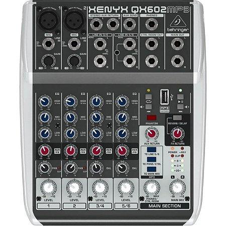Mesa De Som 6 Canais Com USB E EFX Xenyx QX-602 MP3 - Behringer