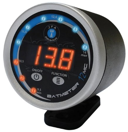 Voltímetro Jfa Bat Meter Circular Microcontrolado Redondo led vermelho