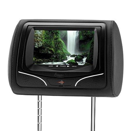 Encosto para Cabeça KX3 Tela LCD 7'DVD com Tecla Touch Button e Função Vídeo Game Preto