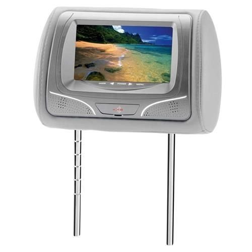 """Encosto de Cabeça KX3 com Tela LCD de 7"""", Entrada USB /SD e Controle Remoto Tipo Joystick - Cinza"""