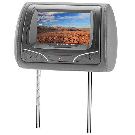 """Encosto de Cabeça KX3 com Tela LCD de 7"""", Entrada USB /SD e Controle Remoto Tipo Joystick - Grafite"""