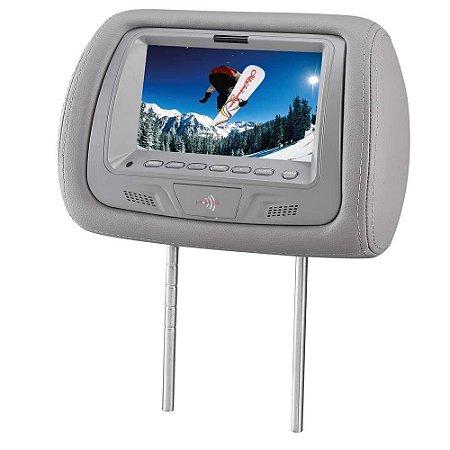 Encosto De Cabeça Tela Lcd com Dvd Dvd728 KX3 Cinza