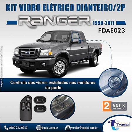 Kit Vidro Elétrico com Sistema Antiesmagamento Ford Ranger 1996-2011 4 Portas Dianteiro Tragial
