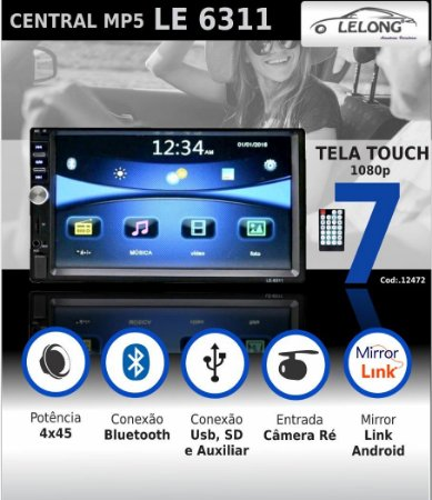 TELA CENTRAL MULTIMIDIA MP5 LELONG 7 POLEGADAS SD/USB/BLUETOOTH - LE6311