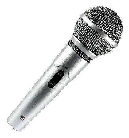 Microfone De Mão Leson Mc-200 Prata Com Cabo