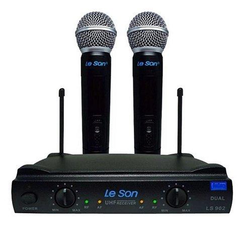 Microfones Duplo Sem Fio Le Som Ls 902 Unidirecional Preto