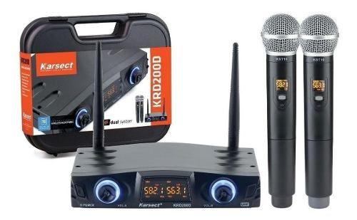 Microfones Duplo Sem Fio Karsect Krd200d Unidirecional Preto