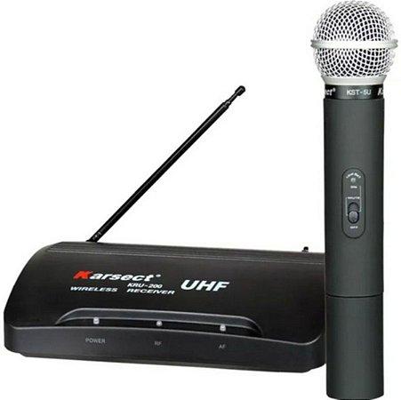 Microfone Sem Fio Wireless Kru-200 Unidirecional Preto