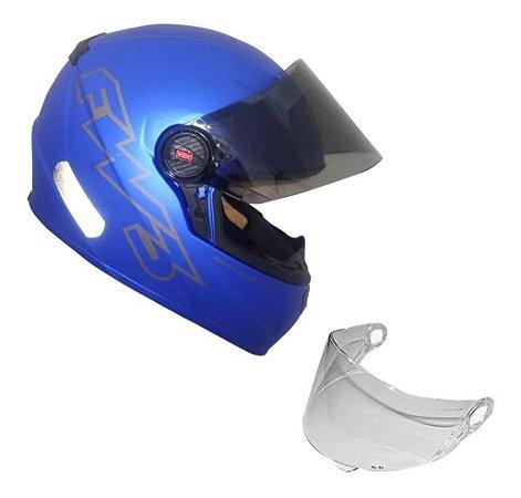 Capacete Moto Fechado Gt Classic Azul Fosco Fw3 + Viseira 60