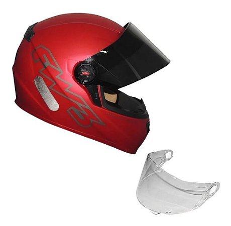 Capacete Moto Fechado Gt Classic Vermelho Fw3 + Viseira 58