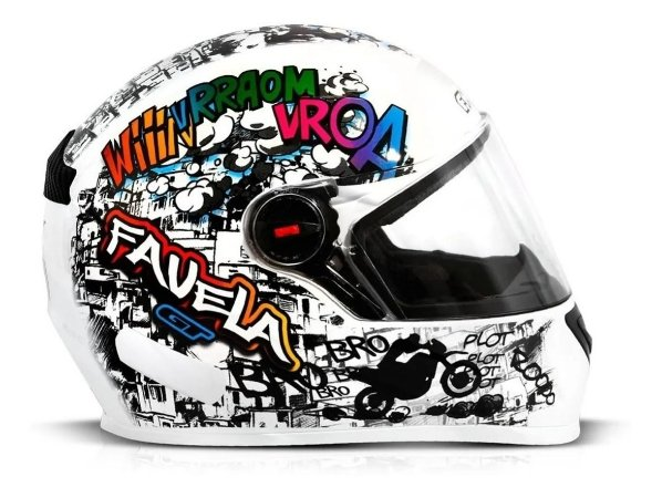 Capacete Para Moto Integral Fw3 Gt Favela Branco Tamanho 56