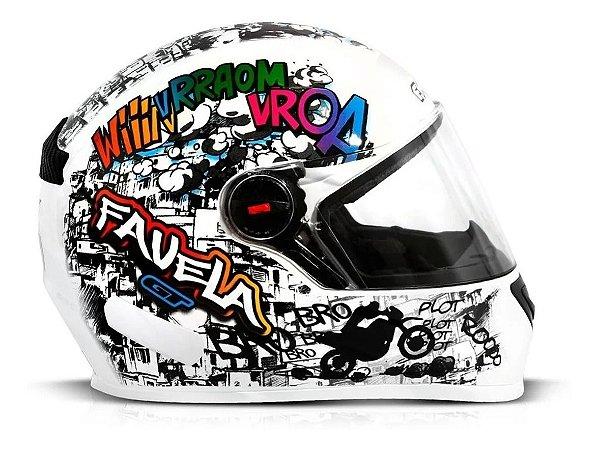 Capacete Para Moto Integral Fw3 Gt Favela Branco Tamanho 60