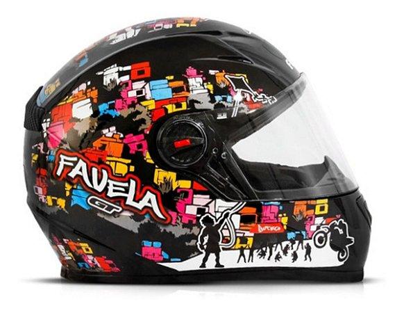 Capacete Para Moto Fechado Fw3 Gt Favela Preto Fosco 56