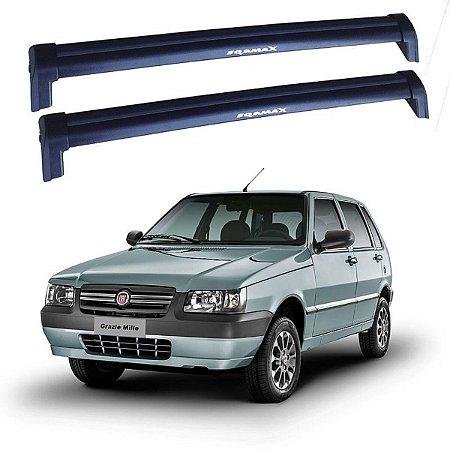 Rack De Teto Fiat Uno 4p 2005 Até 2013 - Eqmax New Wave Preto
