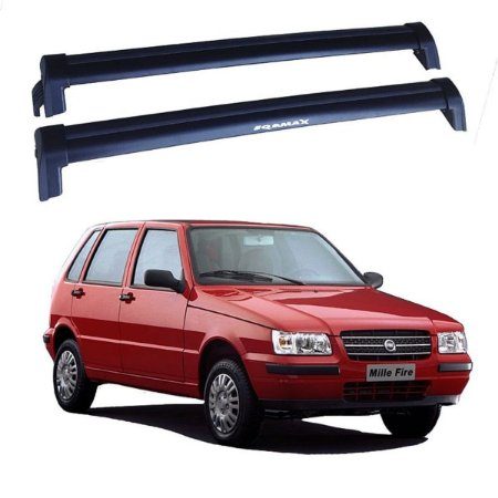 Rack De Teto Fiat Uno 4p 1991 Até 2004 - Eqmax New Wave Preto