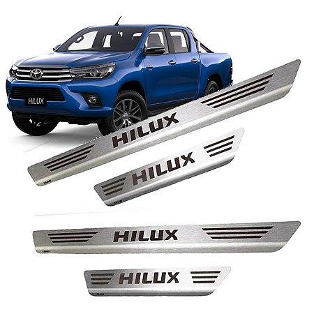 Soleira De Porta Em Aço Inox Escovado Toyota Hilux Cabine Dupla - Mult