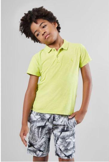 Camisa Polo Infantil Flame Lavado Reserva Mini Masculina - Verde Limão