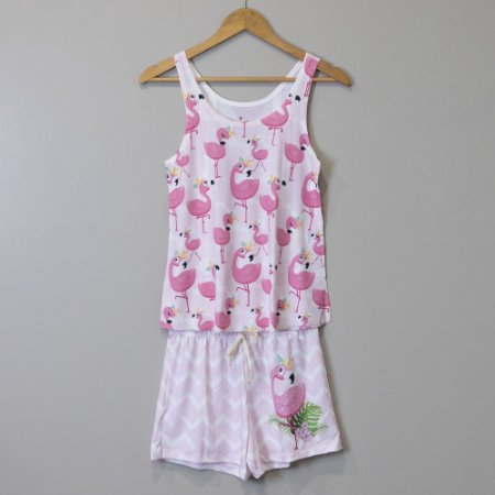 "Pijama Adulto Feminino Rosa - ""Flamingo"""