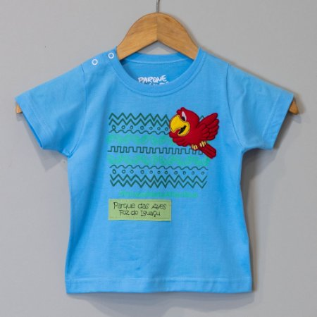 "Camiseta Bebê Azul-celeste - ""Aves da Mata Atlântica"""