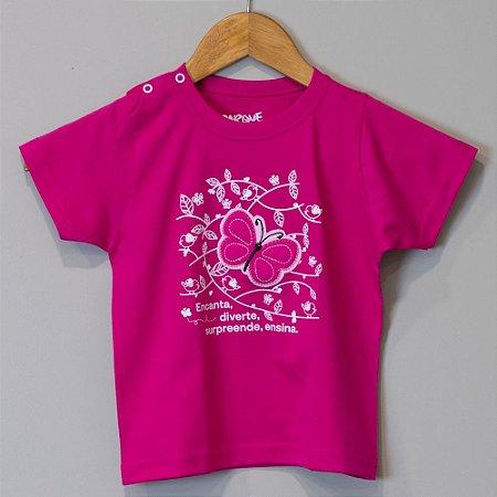 "Camiseta Bebê Pink-framboesa - ""Aves da Mata Atlântica"""