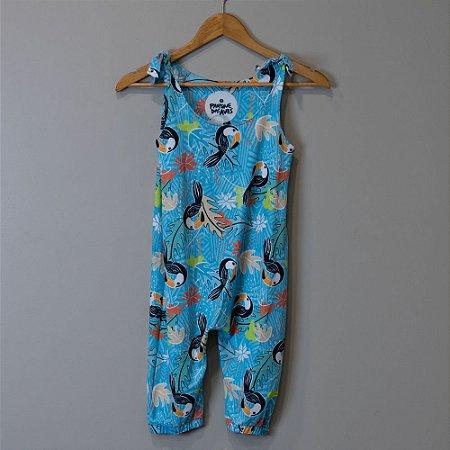 """Macacão Longo Infantil Azul - """"Aves da Mata Atlântica"""""""