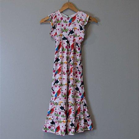 "Vestido Longo Infantil Rosa - ""Aves da Mata Atlântica"""