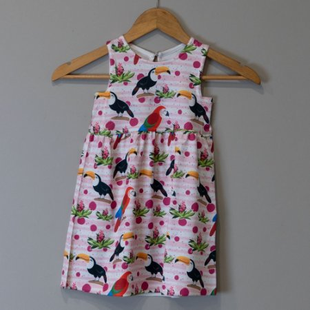 "Vestido Mid Infantil Rosa - ""Aves da Mata Atlântica"""