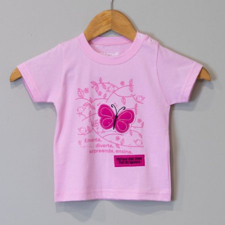 "Camiseta Bebê Rosa-Pó - ""Aves da Mata Atlântica"""