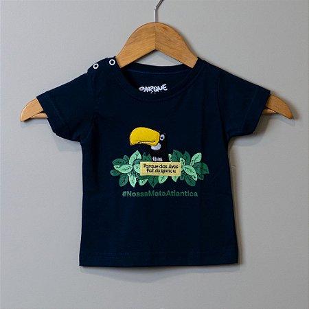 """Camiseta Bebê Azul-Marinho - """"Aves da Mata Atlântica"""""""