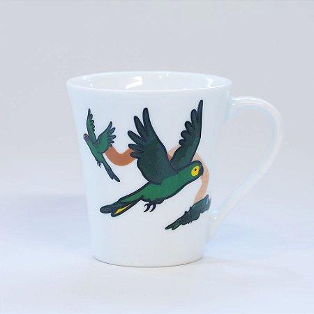 Caneca Branca Túlipa - Papagaio-verdadeiro