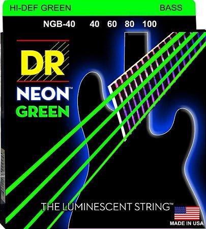 Encordoamento Hi-Definition NEON Green, Baixo 4 Cordas 40-100