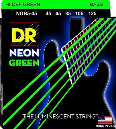 Encordoamento Hi-Definition NEON Green, Baixo 5 Cordas 45-125