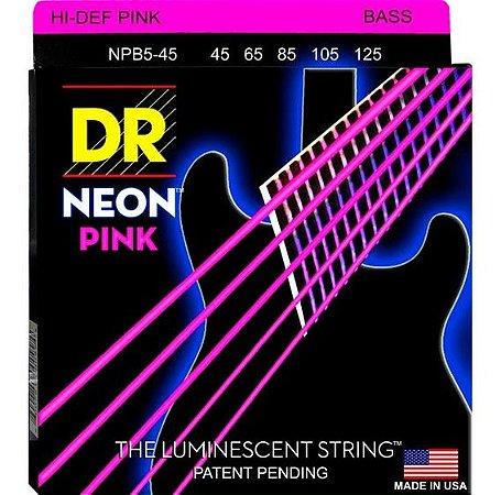 Encordoamento Hi-Definition NEON Pink, Baixo 5 Cordas 45-125