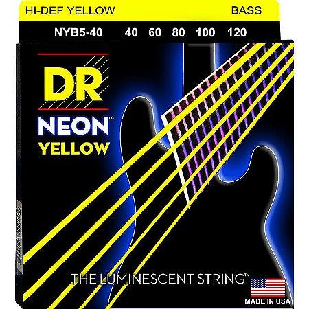 Encordoamento Hi-Definition NEON Yellow, Baixo 5 Cordas 40-120