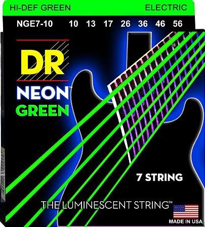 Encordoamento Hi-Definition NEON Green, Guitarra 7 Cordas 10-56