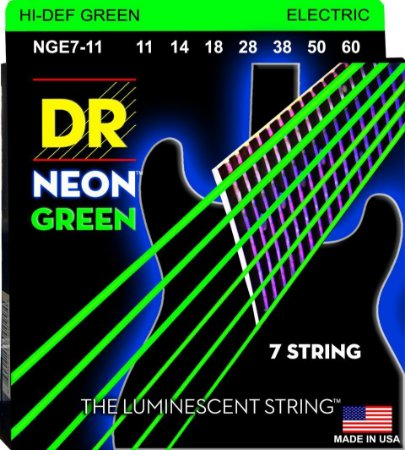 Encordoamento Hi-Definition NEON Green, Guitarra 7 Cordas 11-60