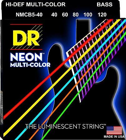 Encordoamento Hi-Definition NEON Multi-Color, Baixo 5 Cordas 40-120