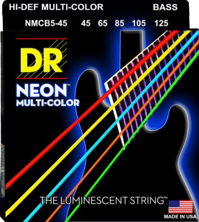 Encordoamento Hi-Definition NEON Multi-Color, Baixo 5 Cordas 45-125