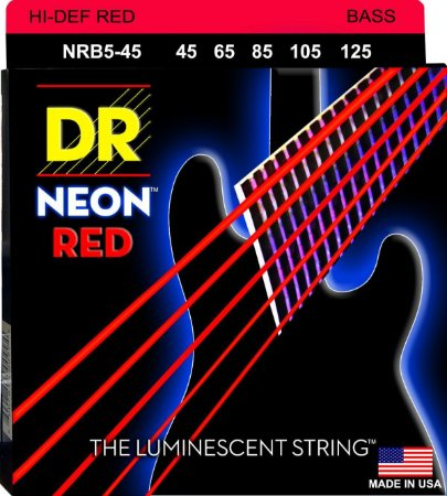 Encordoamento Hi-Definition NEON Red, Baixo 5 Cordas 45-125