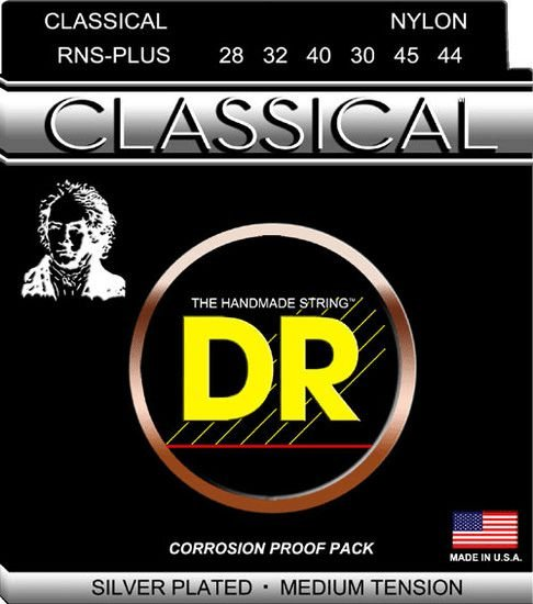 Encordoamento DR Strings RNS Plus Classical Nylon, Banhado A Prata, 28-44
