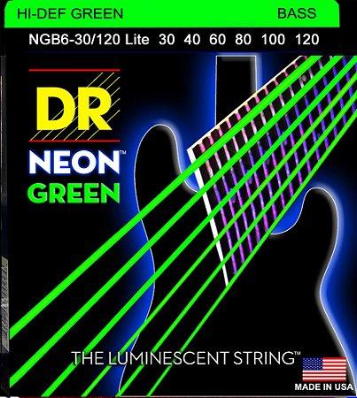 Encordoamento Hi-Definition NEON Green, Baixo 6 Cordas 30-120, Níquel, K3 Coated, Verde