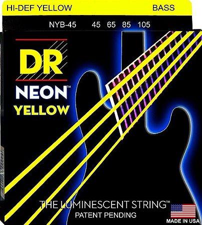 Encordoamento Hi-Definition NEON Yellow, Baixo 4 Cordas 45-105 Níquel, K3 Coated Amarela