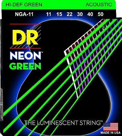 Encordoamento Hi-Definition NEON Green, Violão, 11-50, Níquel, K3 Coated, Verde