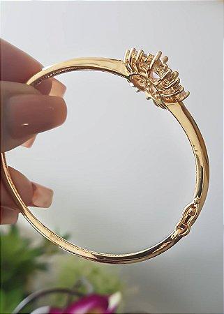 Pulseira Algema Dourada Folheada a ouro 18k zircônias brancas Selecta Joias