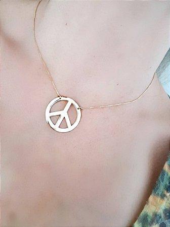 Colar Simbolo da Paz Dourado Folheado a ouro 18k Selecta Joias