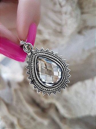 Pingente gota de Prata 925 cristal Selecta Joias