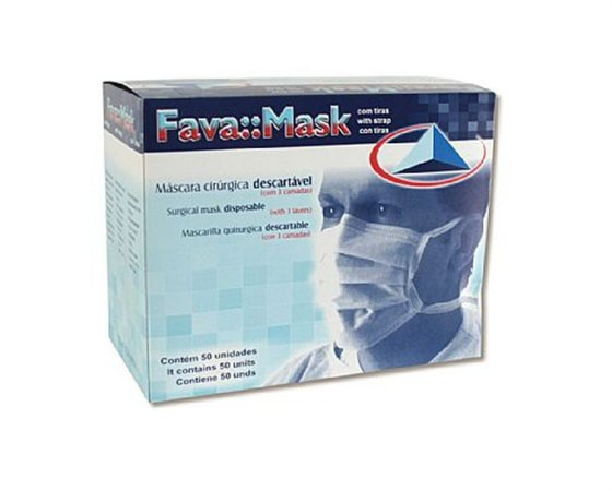 Máscara Cirúrgica Descartável Com Tiras Branca - FAVA