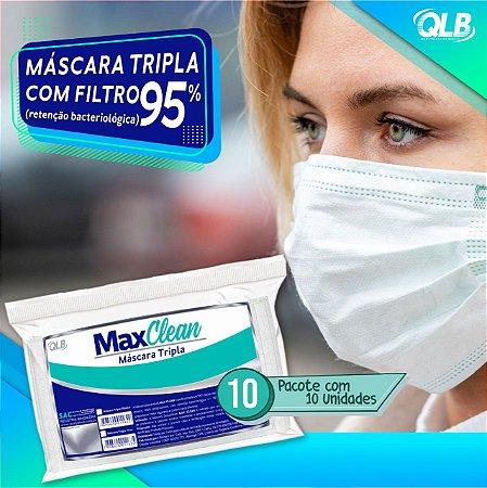 MÁSCARA TRIPLA C/ ELASTICO BRANCA 10UN - MAX CLEAN